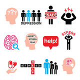 Depression, stress icons set - mental health concept Stock Photography