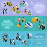 Depression And Stress Isometric Horizontal Banners. With stressful situations at home and work treatment therapy vector illustration Royalty Free Stock Images
