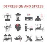 Depression infographic Symptoms, Treatment. Flat icons set. Vector signs for web graphics. Depression Symptoms, Treatment. icons set. Vector signs for web Stock Images