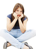 Depression teen girl cried lonely Stock Photo