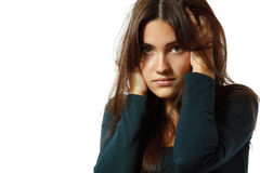 Depression teen girl cried lonely Royalty Free Stock Photo
