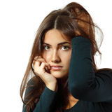 Depression teen girl cried lonely Royalty Free Stock Images