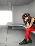 Depression teen girl informal ciber punk cried lonely in empty r Royalty Free Stock Photography