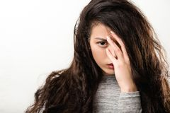 Depression trouble woman intense look fixed gaze stock photography