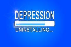 Depression uninstalling - Progression bar. The progression bar showing the status of the process of uninstalling depression vector illustration