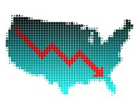 Depression in the United States. Map depicting a depression in the United States Royalty Free Illustration