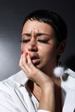 Depression woman with tears Stock Image