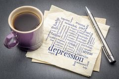 Depression word cloud on napkin. Depression word cloud - handwriting on a napkin with cup of coffee against gray slate stone background royalty free stock photos