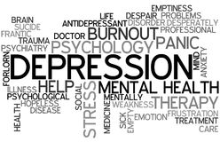 Depression Word Cloud. Tag Cloud as a Concept of Depression Royalty Free Stock Image