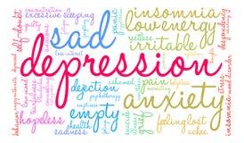 Depression Word Cloud stock illustration