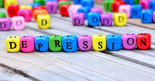 Depression word on table Royalty Free Stock Photography