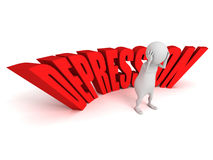 Depression word white 3d person sadness Royalty Free Stock Photo