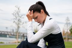 Depression - young business woman Royalty Free Stock Photos