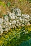 Depressione antica dell'acqua nel campo Fotografia Stock