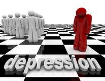 Depressione - una persona si leva in piedi da solo Immagini Stock Libere da Diritti
