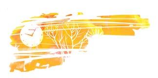 Depressive autumn landscape. Leafless trees and clocks.  vector illustration