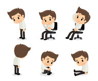 Depressive disorder man in various actions. Sadness vector illustration