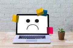 Depressive emotions concept,   smiley face emoticon printed depr Royalty Free Stock Image
