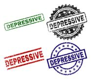 Grunge Textured DEPRESSIVE Seal Stamps. DEPRESSIVE seal prints with distress style. Black, green,red,blue vector rubber prints of DEPRESSIVE title with dust royalty free illustration