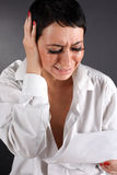 Depressive woman with tears Royalty Free Stock Photography