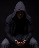 Depressive young man in hood Royalty Free Stock Images