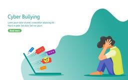 Deprimente a causa di abuso verbale dagli internauti illustrazione di stock