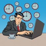 Deprimerad affärsman Stayed Late på arbetspopkonst vektor illustrationer