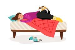 Deprimerad kvinna och katt stock illustrationer