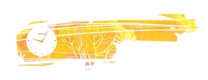 Deprimerande höstlandskap Avlövade träd och klockor royaltyfri illustrationer