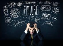 Deprimerat affärsmansammanträde under problemtankeaskar Arkivbilder
