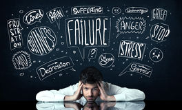 Deprimerat affärsmansammanträde under problemtankeaskar Arkivbild