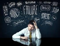 Deprimerat affärsmansammanträde under problemtankeaskar Arkivfoto