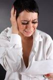 Deprimierende Frau mit Rissen Lizenzfreie Stockfotografie