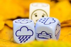 Deprimierendes und trauriges Wetter des Herbstes gezeigt auf Würfeln Stockfotografie