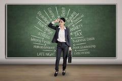 Deprimierte Arbeitskraft, die viele Probleme denkt Lizenzfreie Stockbilder