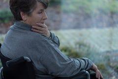 Deprimierte behinderte Frauen Stockbilder