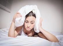 Deprimierte Frau der Schlaflosigkeit Stockfoto