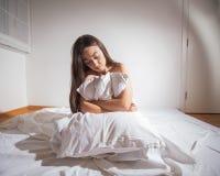 Deprimierte Frau der Schlaflosigkeit Stockbild