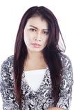 Deprimierte Frau getrennt über Weiß Lizenzfreie Stockfotografie