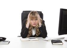 Deprimierte Geschäftsfrau an ihrem Espritende Lizenzfreie Stockfotografie