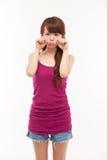 Deprimierte junge asiatische Frau Lizenzfreies Stockbild