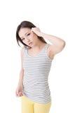 Deprimierte junge asiatische Frau Stockfoto