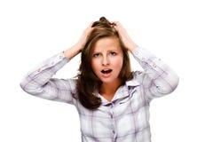 Deprimierte junge Frau getrennt auf weißem Hintergrund Lizenzfreie Stockfotos
