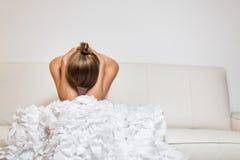 Deprimierte junge Braut Lizenzfreies Stockbild