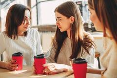 Deprimierte junge Frau, die mit Freunden spricht Lizenzfreie Stockbilder