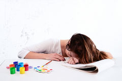 Deprimierte Künstlerin Lizenzfreie Stockfotos