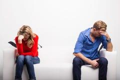Deprimierte Paare, die Probleme haben Lizenzfreie Stockfotos