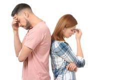 Deprimierte Paare nach Streit Stockfotos