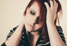 Deprimierte traurige Frau Stockfotos