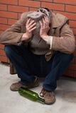 Deprimierter Alkoholiker Stockfoto